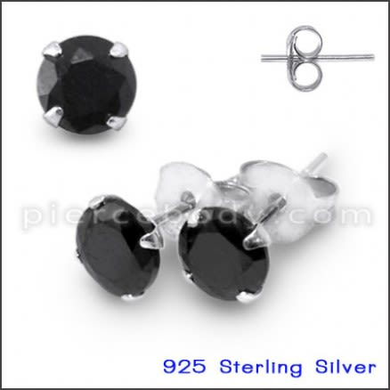 925 Sterling Silver Earrings With Black Zirconia