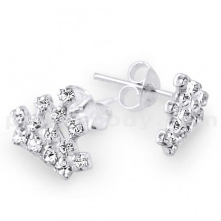 925 Sterling Silver Crown Earring