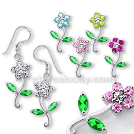 925 Sterling Silver Flower Charm  Dangle Earrings