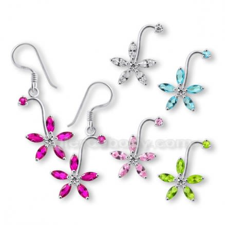 High Quality Stones 925 Sterling Silver Flower Earring