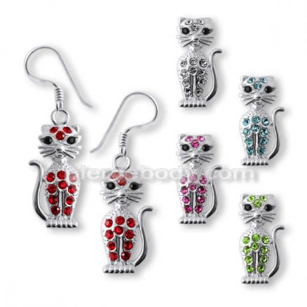 Sterling Silver Cat Earring