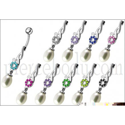 Jeweled Fancy Pearl Dangling Steel Banana Bar Navel Belly Ring
