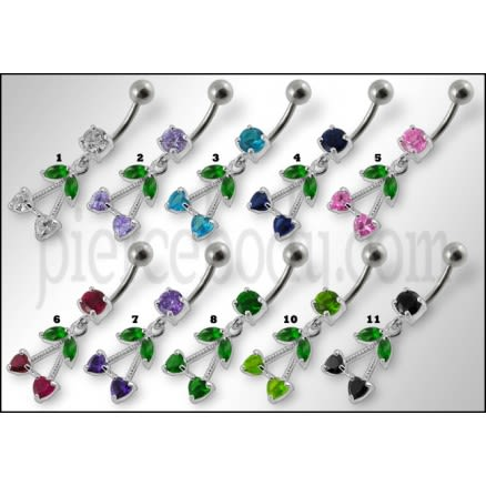 Fancy Jeweled Double Heart Stone Dangling SS Bar Belly Ring Body Jewelry