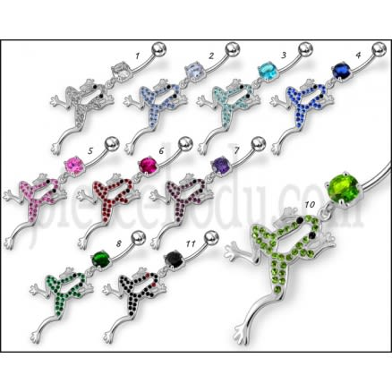 Fancy Jeweled Frog Dangling Belly Ring