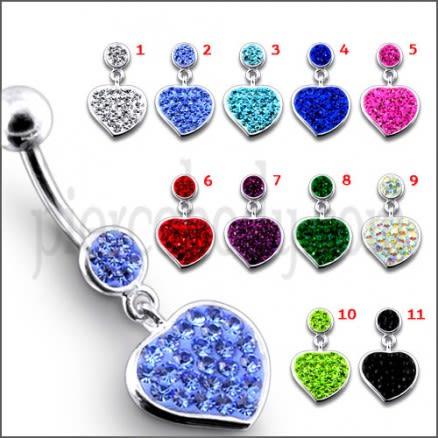 Fancy Red Zirconia Jeweled Heart Dangling Navel Ring Body Jewelry