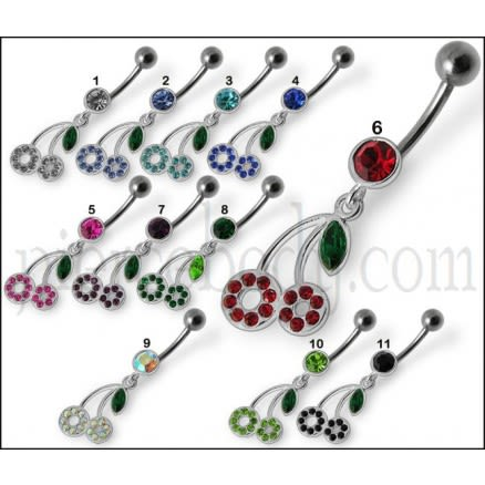 Fancy Red Jeweled Two Flower Dangling Belly Ring Body Jewelry