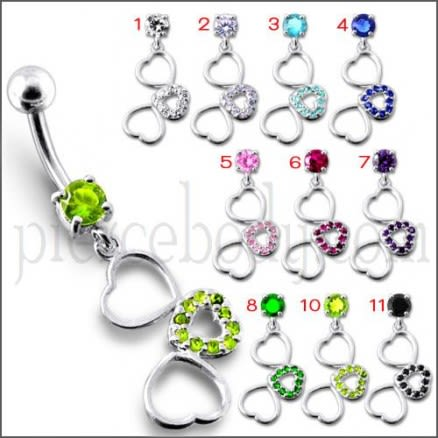 Fancy Jeweled Multi Heart Dangling SS Curved  Navel Ring