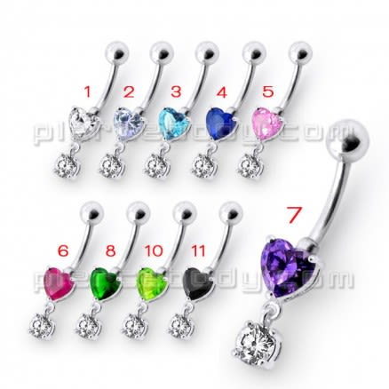Fancy Purple Heart Shape Jeweled Dangling Navel Ring Body Jewelry