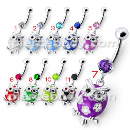 Fancy Jeweled Owl Dangling Navel Ring