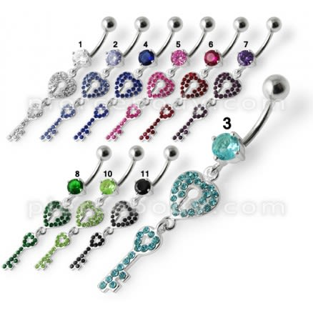 Fancy Jeweled Hear Key Dangling Navel Ring