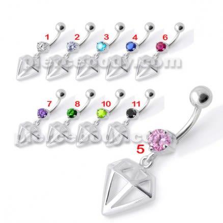Fancy Jeweled Diamond Cut Dangling Navel Ring