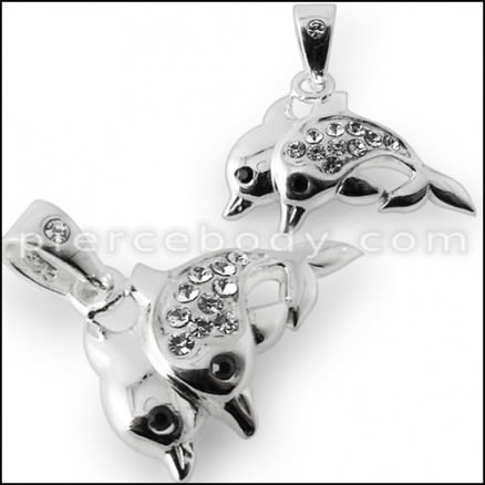 925 Sterling Silver Jeweled Dolphine Pendant