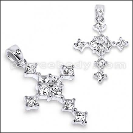 925 Sterling Silver Jeweled Cross Pendant PBPJ088