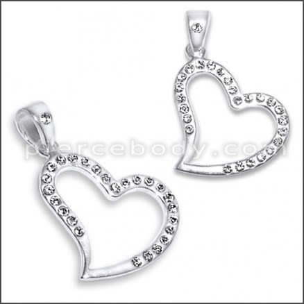 925 Sterling Silver Heart Pendant With Cubic Zirconia Stones