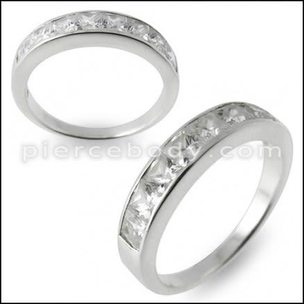 Jeweled Fashion Silver Ring Band Body Jewelry