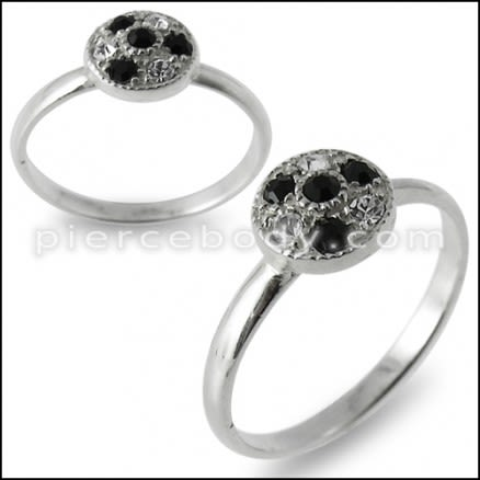 Black And White CZ Studded Jeweled Fashion Silver Ring