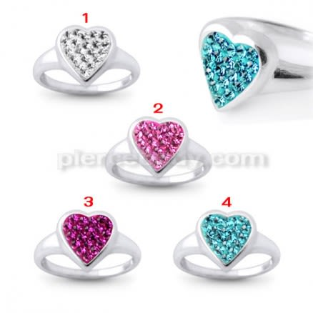 Jeweled Heart Fashion Silver Ring
