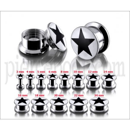 SS Internal Screw Fit With Black Star Logo Ear Tunnel