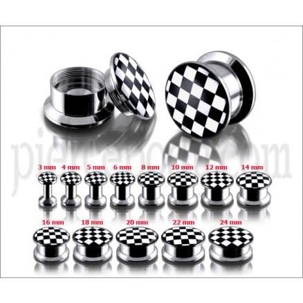 SS Internal Screw Fit With White Checker Logo Ear Tunnel