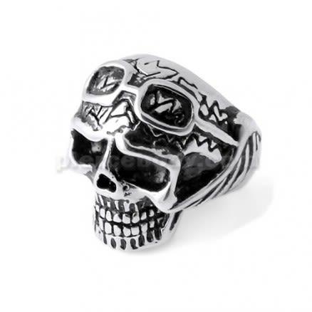 Pilot Skull finger ring