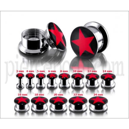SS Internal Screw Fit With Red Star Logo Ear Tunnel