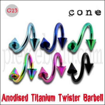 G23 Grade Anodised Titanium Twister Barbell with Cone
