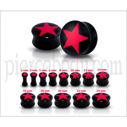 Double Flared Red Star Logo Ear Plug