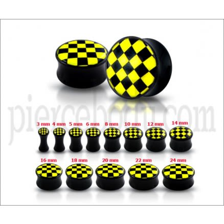 Double Flared Yellow Checker Logo Ear Plug
