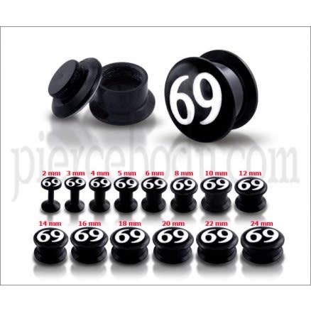 Black UV Internal #69 Logo With Screw Fit Ear Tunnel