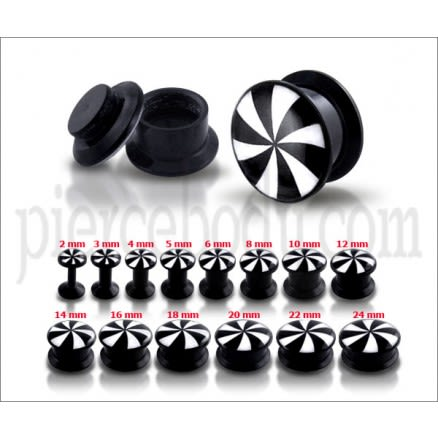 Black UV Internal Black And White Swirl Logo With Screw Fit Ear Tunnel