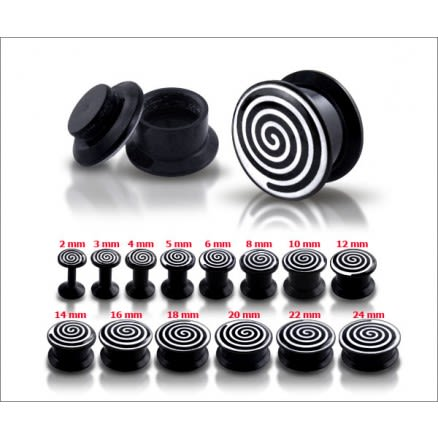 Black UV Internal Spiral Logo With Screw Fit Ear Tunnel