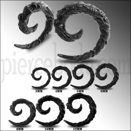 Black Dragon Spiral Ear Stretcher Expander