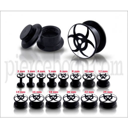 Black UV Internal Black Tribal With White Base Screw Fit Ear Tunnel