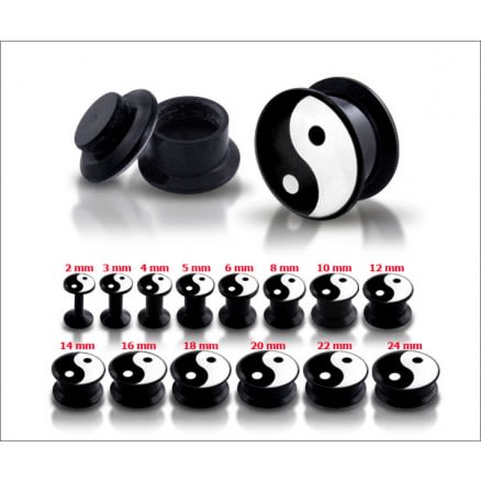 Black UV Internal Ying Yang Screw Fit Ear Tunnel