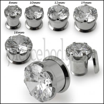 Single Jeweled Screw Fit Flesh Tunnel