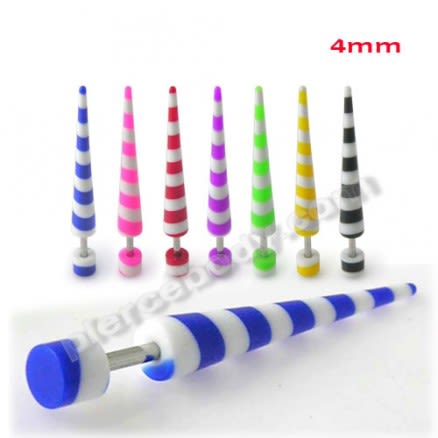 Colorful Stripes Straight Fake UV Ear Plug Taper Expander