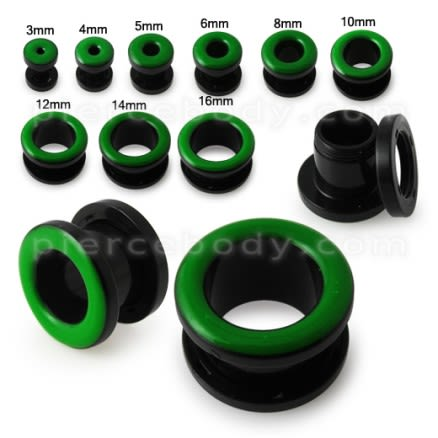 UV Green Inlay Screw Fit Flesh Tunnel