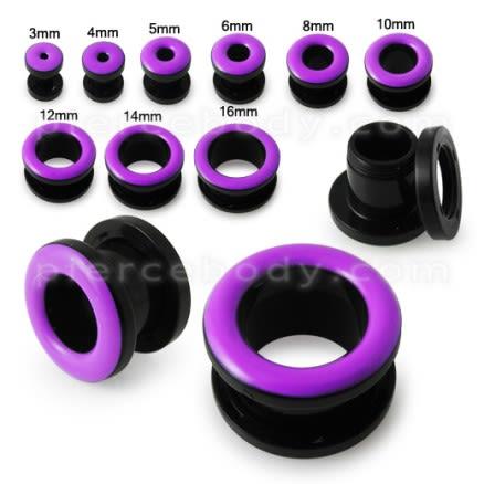UV Purple Inlay Screw Fit Flesh Tunnel