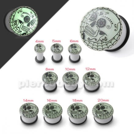 Glow In The Dark Tribal Skull Ear Plug