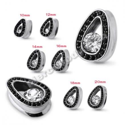 Black Jeweled Tear Drop Ear Plug