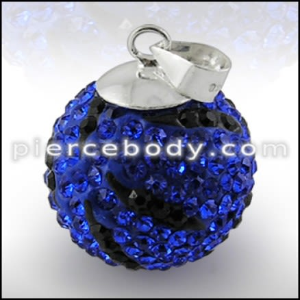 Royal Blue With Black Crystal stone With Silver Zebra Pendent