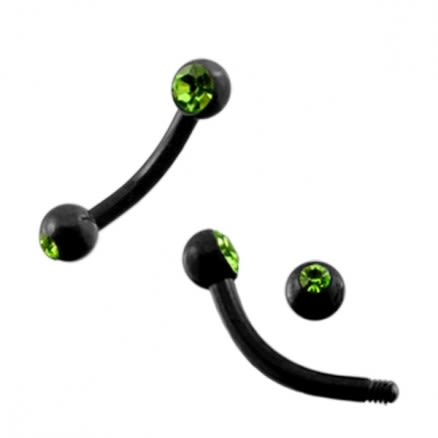 Blackline Curved Banana with two Green Stone balls