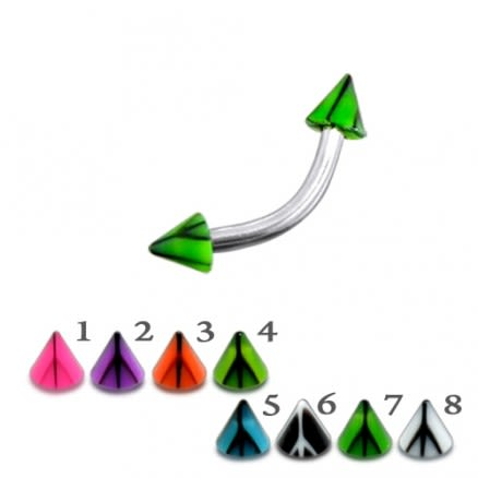 Assorted Color 316L Surgical Steel Banana With UV Basketball Cone Eyebrow Rings