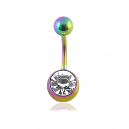 Rainbow anodised Jewleled 316L Steel Belly Banana
