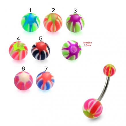 SS Belly Banana Bar Multi Jewelry With Mix Color UV Balls