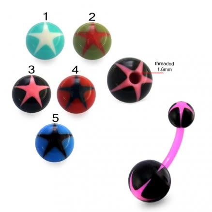 UV Navel Banana Bar Ring With Star UV Balls