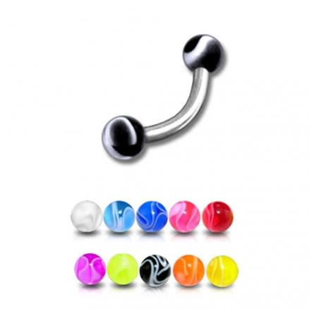 SS Eyebrow Banana with Black Color UV Balls Body Jewelry Ring