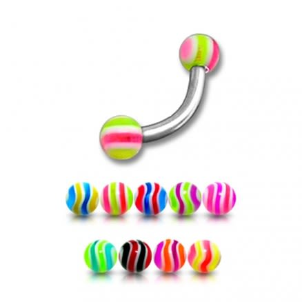 SS Banana Bar With 3mm Molti Color UV Balls