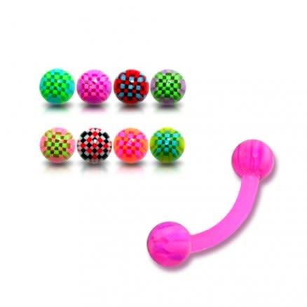 Pink UV Assorted Color Banana with 3MM UV Checkered Eyebrow Ring