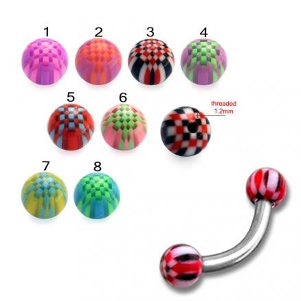 SS Eyebrow Banana Bar Ring with Checkered Multi Color UV Balls